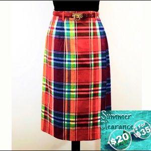 Talbots Cotton Plaid Wrap Around Skirt